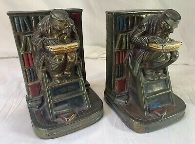 Vintage G.s. Allen Armor Bronze Asian Man Reading By Bookcase 1920's ** Heavy **