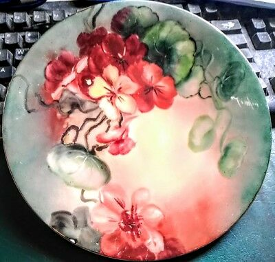 """JPL Jean Pouyat Limoges Hand Painted Plate Floral 8 1/2"""" Signed"""