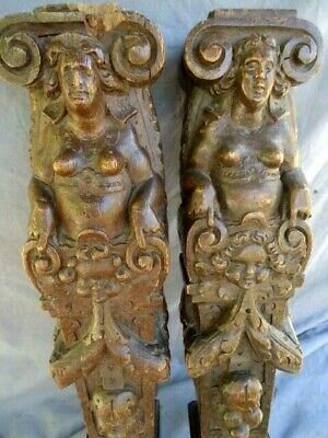 Two 17Th   Century Oak Carved  Figure  Panel Rails Supports