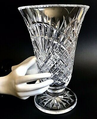"WATERFORD CRYSTAL Master Cutter 10"" Footed Flared Vase • Seahorse Logo • Ireland"
