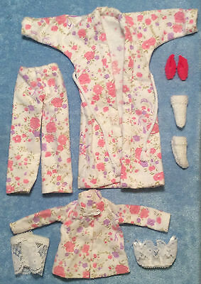 White Pink Fashion Doll Pjs Dollhouse Dolls Clothes Pajamas Slippers Robe Toys