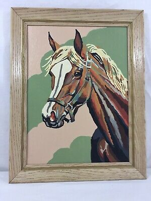 """VTG Framed Paint By Number 15"""" Wide X 19"""" High Horse Pink Green Mid Century"""