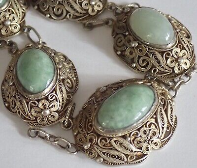 Antique Chinese Gold Washed Sterling Silver Green Jade Necklace