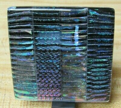 Beautiful 2015 Dichroic Fused Glass Art Sculpture Artist Signed!