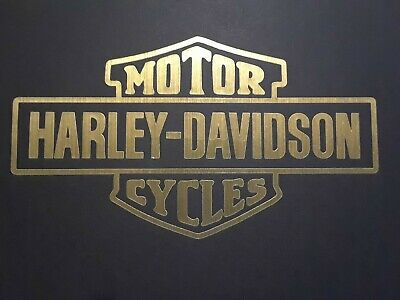 "Harley Davidson old style logo Metallic Gold 3 1/4"" high x 5 3/4"" wide."