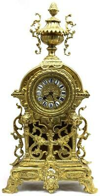 Antique French Mantle Clock Superb 1870s Embossed Pierced Bronze Bell Striking