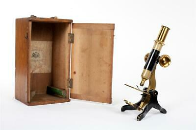 """Vintage c1900 ~  """"Dolland & Co., London"""" ~  Brass Microscope with Case."""
