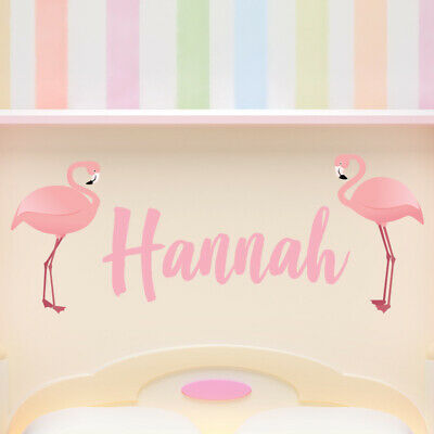 Custom Name Pink Flamingo Wall Sticker Personalised Kids Room Decal WS-41437