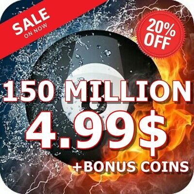 8 Ball Pool Coins 150 MILLION + BONUS COINS - INSTANT DELIVERY | TRANSFER OR NEW