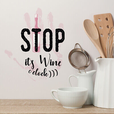 Oh Look It/'s Wine O/'Clock Vinyl Wall Decal Quote home art decor sticker L125