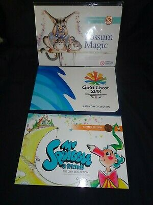 2017 Possum Magic 2018 Gold Coast Comm Games 2019 Mr Squiggle 7 $1 $2 Coin Sets