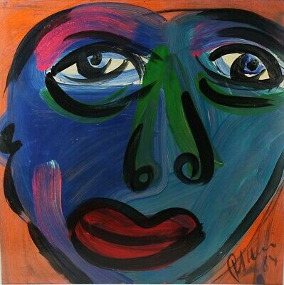 Signed PETER KEIL German Neo Expressionist Abstract Portrait Oil Painting LISTED