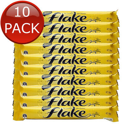 10 x CADBURY FLAKE CHOCOLATE BAR CHOC CHOCO TREAT SWEETS SNACKS BULK 30g