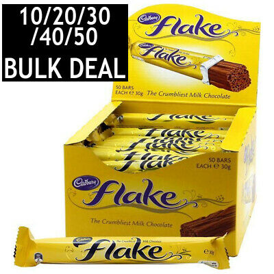 10/20/30/40/50 x CADBURY FLAKE CHOCOLATE BAR CHOC CHOCO SWEETS SNACKS BULK 30g