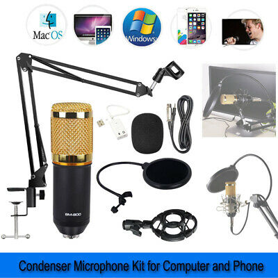BM-800 Studio Wired USB Condenser Microphone KTV Kit For Phone iphone Computer