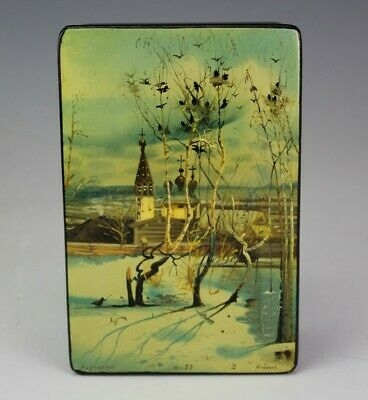 Russian Black Red Lacquered Handpainted Winter Landscape Jewelry Trinket Box JEF