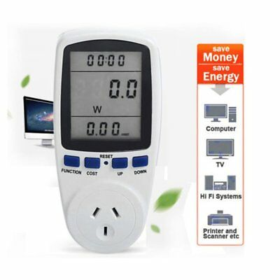 LCD Display Digital Energy Saving Power Meter 240V 50HZ Watt Volt Amp Monitor 3m