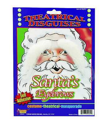 Funny Old Man Santa Claus White Adhesive Eyebrows Facial Hair Costume Accessory