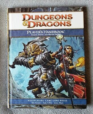 DUNGEONS & DRAGONS 4th ed / d20 Player's Handbook HC Core Rule Book VG Cond