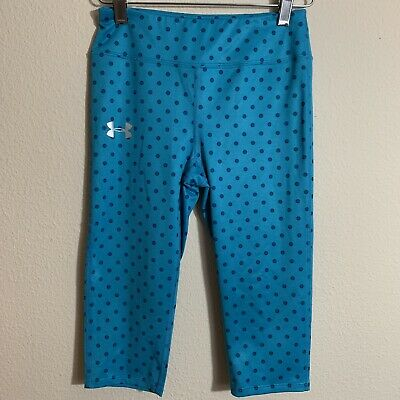Under Armour Girls Fitted M Blue Polka Dot Capri Leggings Active Cropped E56