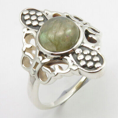 Sterling Silver Labradorite Antique Look Ring Size 7.75 Women's Jewelry