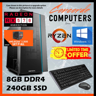 AMD Ryzen 3 2200G 3.7GHz | 8GB | 240GB SSD | Gaming Computer Office Desktop PC