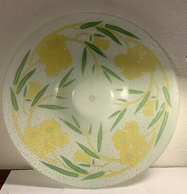 """Vintage Glass Ceiling Light Cover 19 1/2"""" By 3"""" Frosted Flowers"""