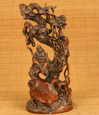 Chinese rare old boxwood buddha sit tree statue figure netsuke home decoration