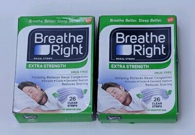 Breathe Right Nasal Strips Extra Strength Reduce Snoring Clear Strips Lot of 2