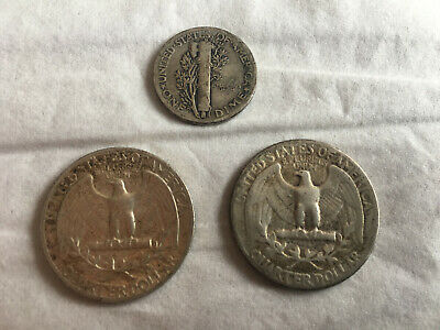 Lot 3 Monnaies Etats-Unis USA en Argent (Mercury Dime ; Washington Quarter)