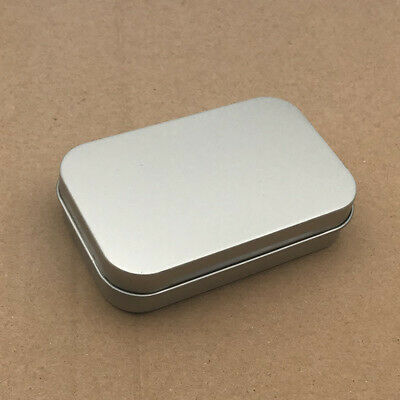 Silver Metal Rectangular Empty Hinged Tins Box Containers Mini Portable Box Case