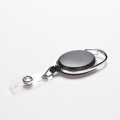 Retractable Recoil ID Badge Lanyard Name Tag Key Card Holder Belt Clip Black、NUP