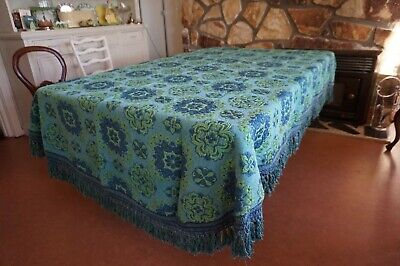 Vintage Italian Lime Gree & Navy Blue  Fringed Brocade Cutter Bedspread as found