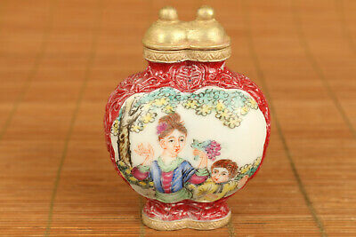 collection chinese old porcelain hand painting two lid snuff bottle noble gift