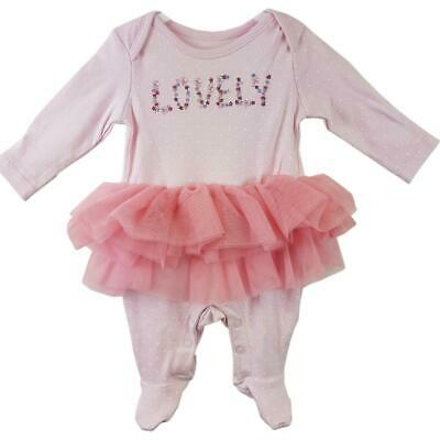 """Baby Girl Tutu Pink Baby Grow """"Lovely"""" Sizes  from Newborn to 3 months"""