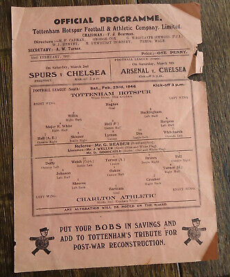 February 23 1946 football programme Arsenal v Charlton Athletic - League South
