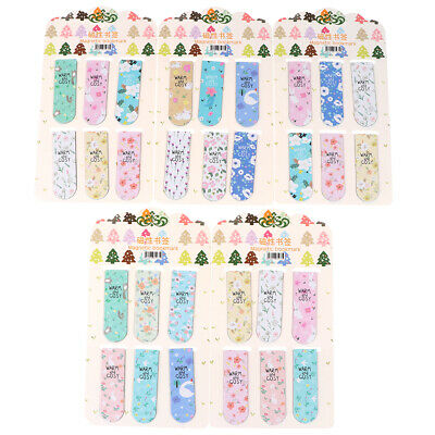 6pcs/set Colored flowers magnetic bookmarks stationery double sided bookmark UP