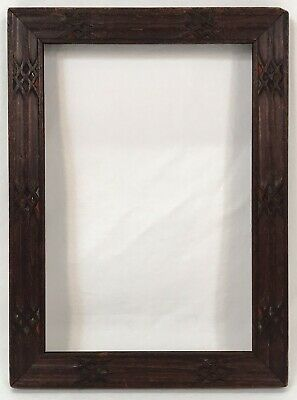 Antique Early 20th C Arts & Crafts Gothic Carved Frame 4 5/8 x 6 5/8 Opening