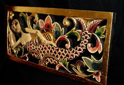 Mermaid Panel Carved Wood Decorative Architectural Relief Wall Balinese Art Red