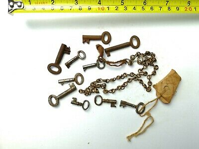 10 x Old Antique Vintage Keys Collector, Small, uncleaned Steampunk #0316
