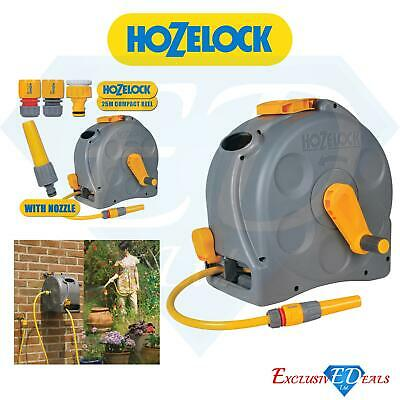 HOZELOCK COMPACT 2 In 1 REEL | 25M HOSE & FITTINGS Free Standing / Wall Mounted