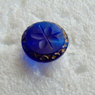 Beautiful Antique Small Royal Blue Glass Button #4575