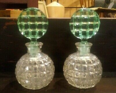 Pair Of Vintage Clear & Green Glass Perfumes