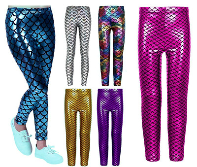 Girls Metallic Mermaid Fish Scale Leggings Kids Shiny Foil Children 3-13 Years