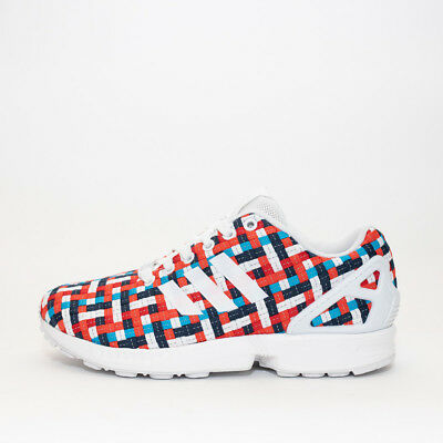 Mens Adidas ZX Flux White/Multi-Coloured Trainers RRP £59.99