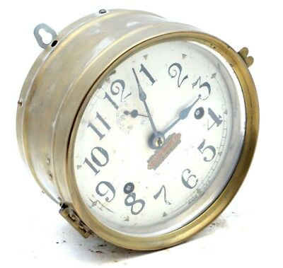 Antique Kelvin White Brass Ships Clock Boston Seth Thomas Nautical Marine Works!