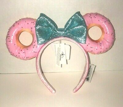 Disney Parks Foodie Minnie Mouse Glitter Bow Sprinkle Donut Ears Headband (NEW)
