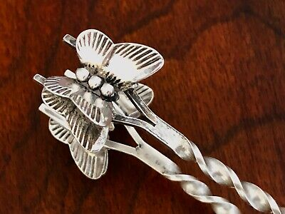 - American Sterling Silver Sugar Tongs: Double Butterfly Bowls No Monogram
