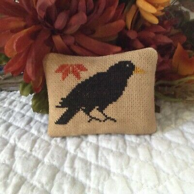 Tiny Crow Sampler-Bowl Filler-Ornament-Fall-Halloween-Handstitched