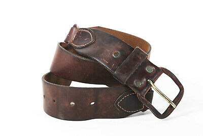 VTG  70s LEATHER COWHIDE BROWN BELT USA FESTIVAL MOTORCYCLE BIKER HIPPY 34 35 36